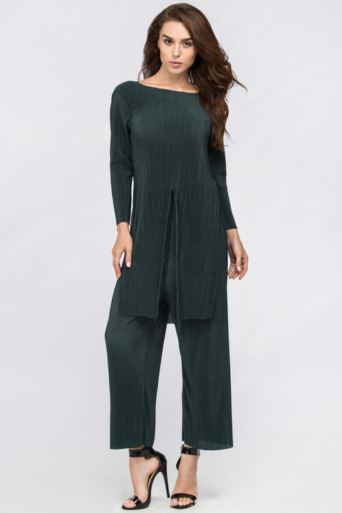 Green Micro Pleated Tunic Co-ord 207