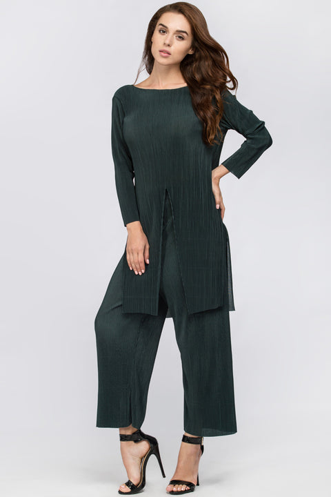 Green Micro Pleated Tunic Co-ord 208