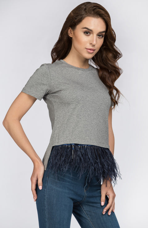 Grey Feather Detail Peplum Top   198