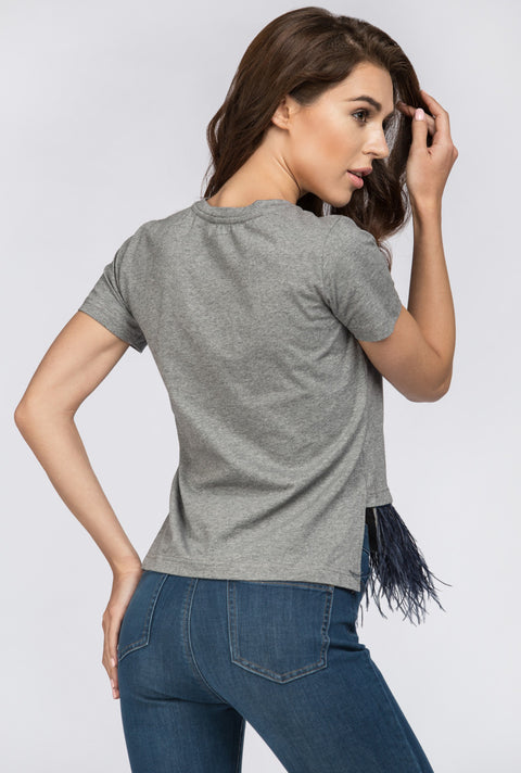 Grey Feather Detail Peplum Top   199