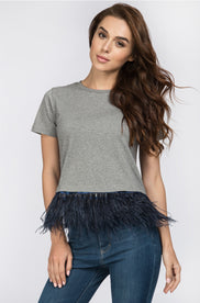 Grey Feather Detail Peplum Top