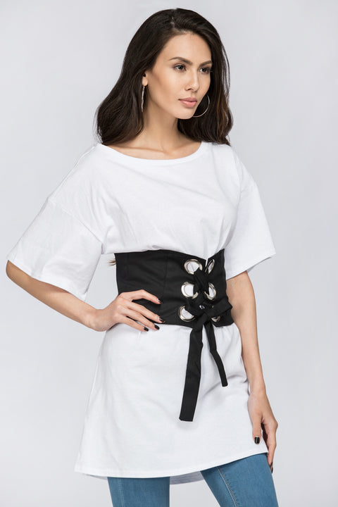 White T-shirt with Black Corset Combo 4