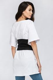 White T-shirt with Black Corset Combo