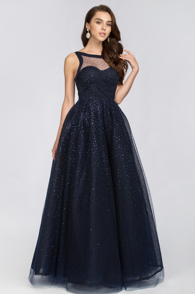 Midnight Blue Layered Ball Gown with Crystals