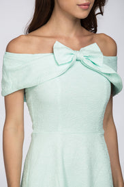 Mint Green Floral Embossed Princess Off The Shoulder Maxi Dress