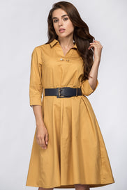Mocha Belted Midi Dress