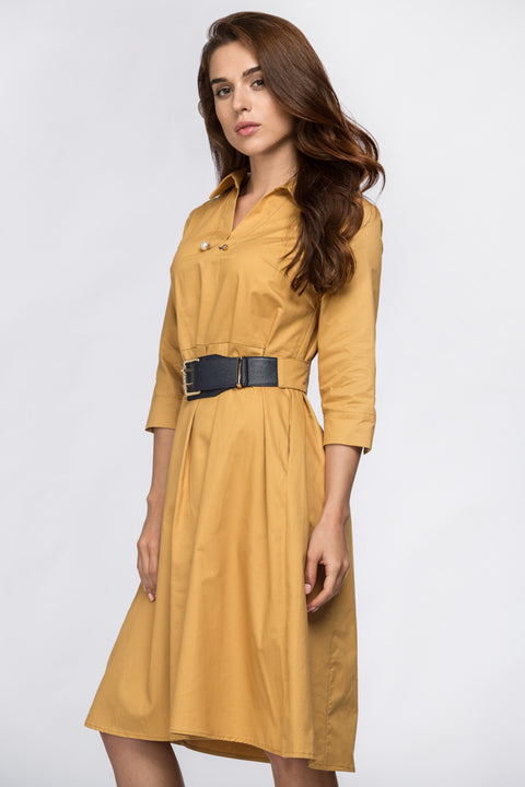 Mocha Belted Midi Dress 240