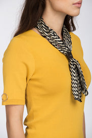 Mustard Scarf Detail Ribbed Hem Top
