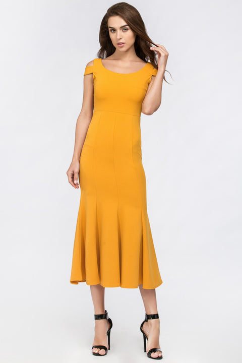 Mustard Shoulder Band Trumpet Midi Dress 216