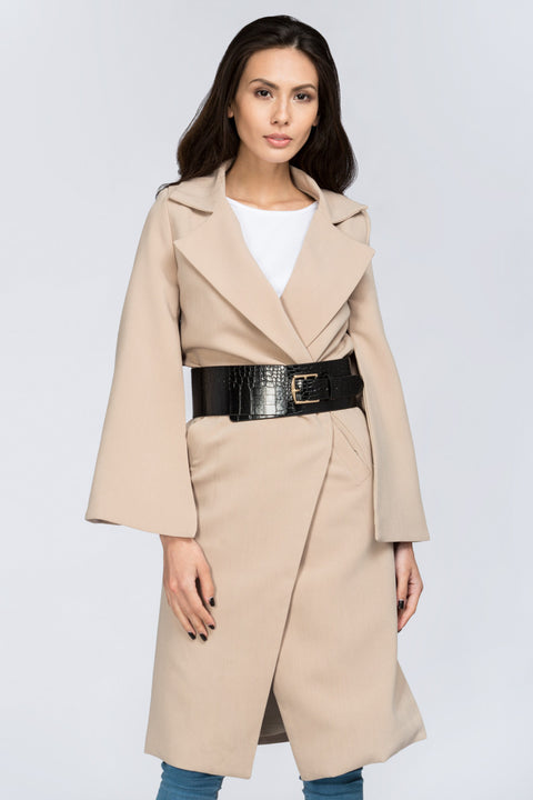 Nude Flare Sleeve Coat with Belt 2