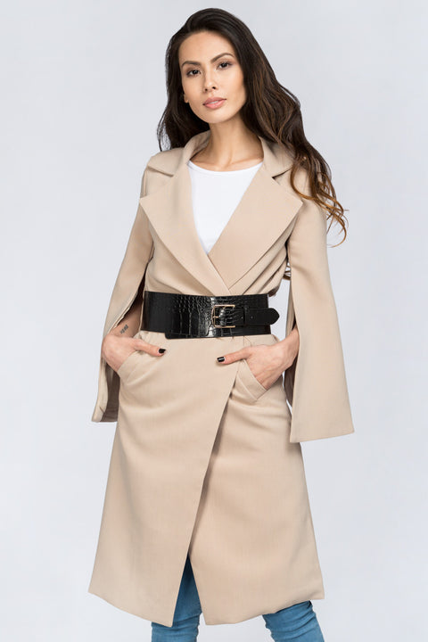 Nude Flare Sleeve Coat with Belt 3