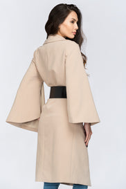 Nude Flare Sleeve Coat with Belt