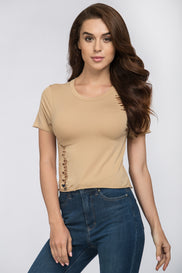 Nude Ripped Cropped T-Shirt