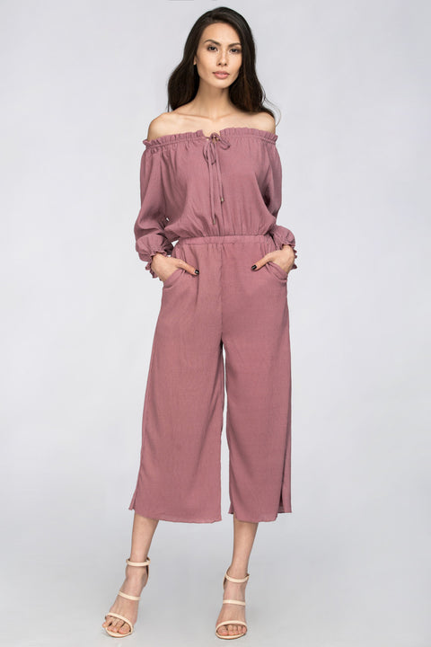 Old Rose Crepe Off the Shoulder Jumpsuit 101