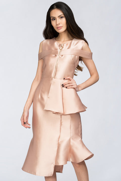 Peach Satin Zip up Peplum Midi Dress 78