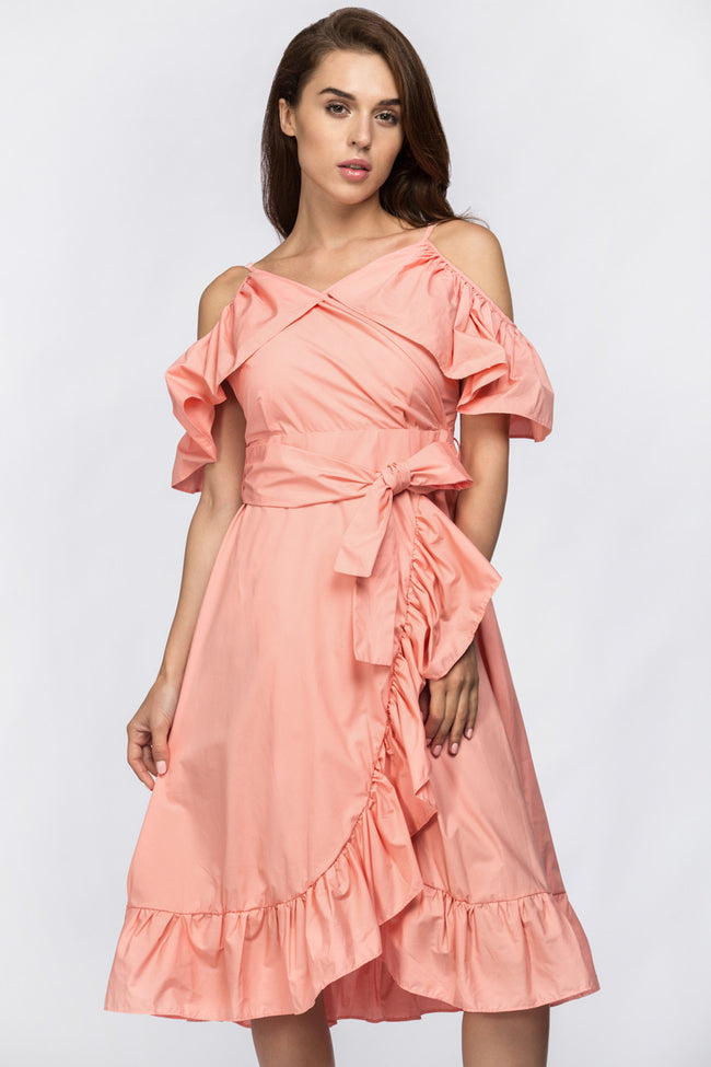 Peach Summer Ruffle Midi Dress
