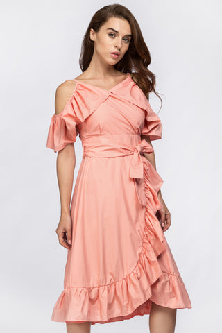 Peach Summer Ruffle Midi Dress 59