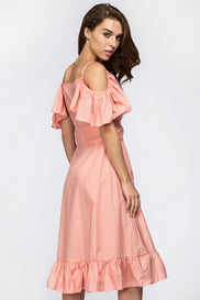 Maram Zbaeda - Peach Summer Ruffle Midi Dress