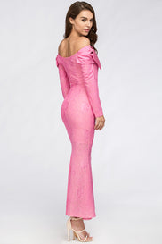 Pink Bow Lace Maxi Dress
