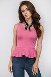 Pink Knit Peplum Top