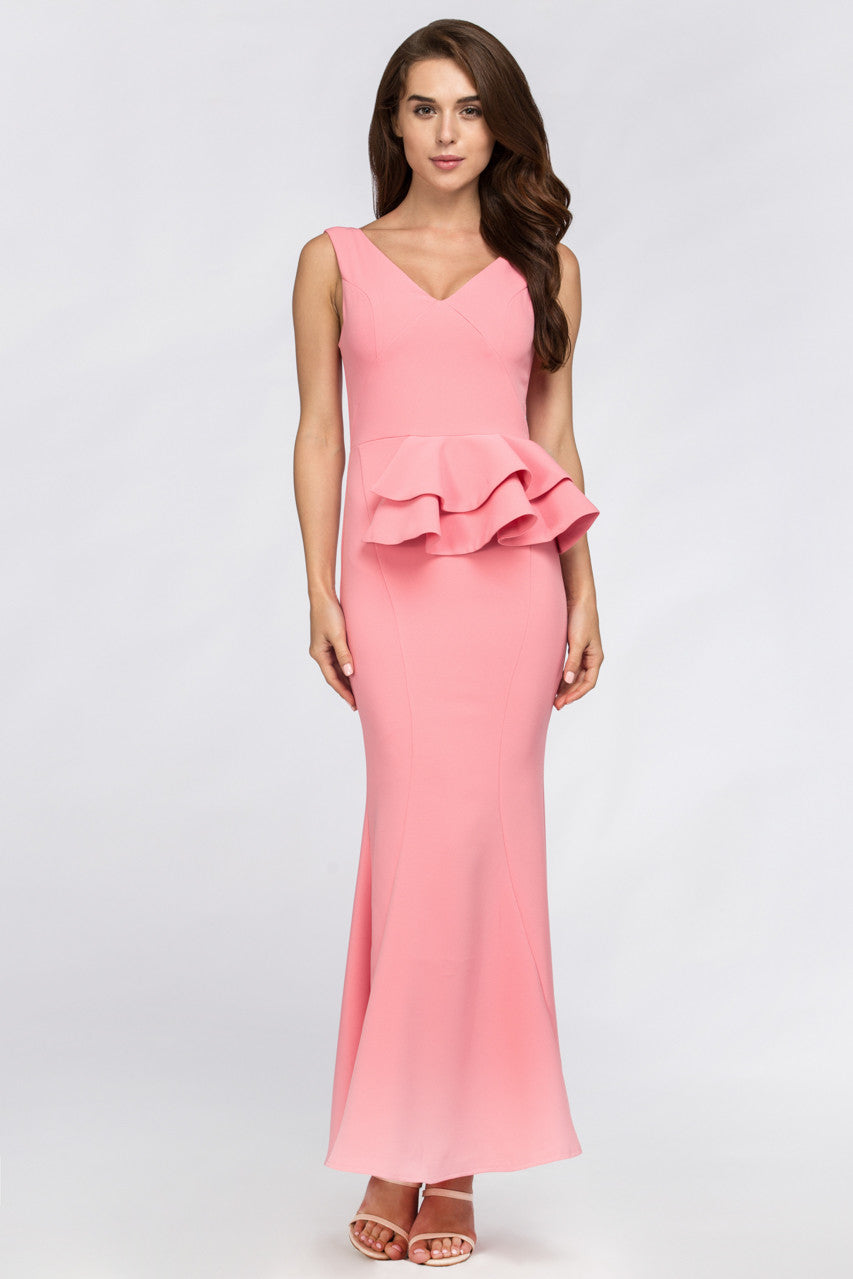 ab92fa9d4ae Pink Pearl Peplum Maxi Dress – OwnTheLooks