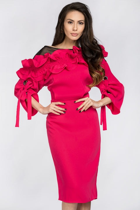 Deema Al Asadi - Pink Ruffled Puff Sleeve Midi Dress 208