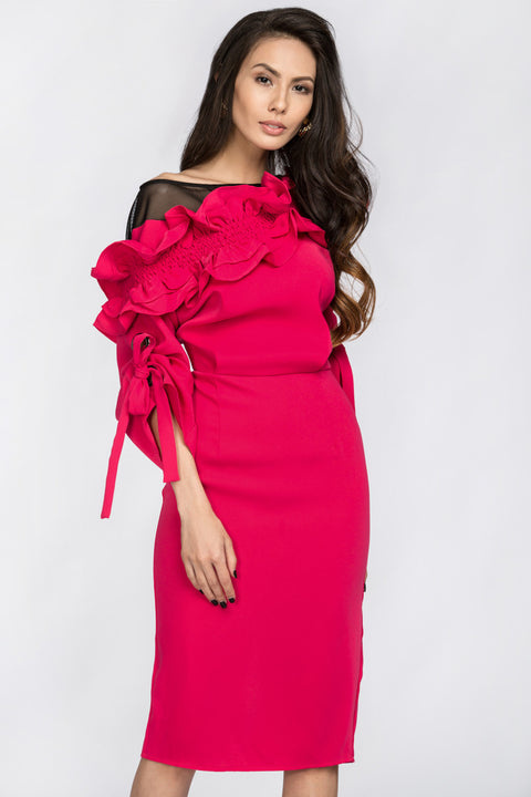 Deema Al Asadi - Pink Ruffled Puff Sleeve Midi Dress 133