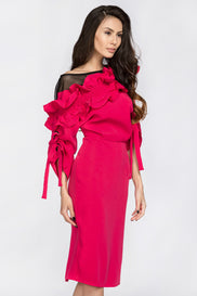 Deema Al Asadi - Pink Ruffled Puff Sleeve Midi Dress