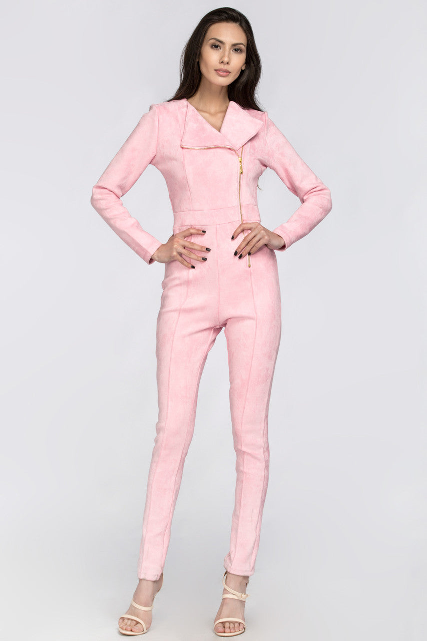 Pink Side Zip Jumpsuit