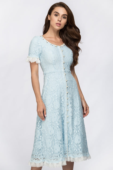 Enchanted Blue Embroidered Princess Midi Dress 136