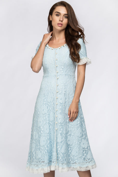 Enchanted Blue Embroidered Princess Midi Dress 183