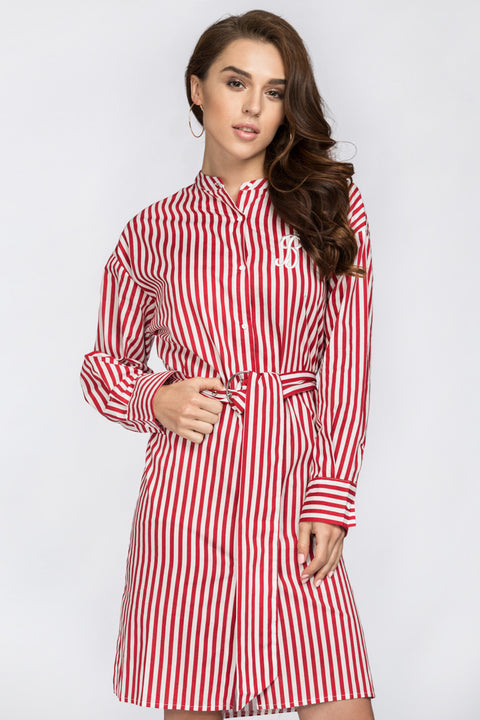 Red Candy Stripe Belted Long Blouse 10