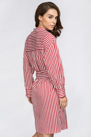 Red Candy Stripe Belted Long Blouse
