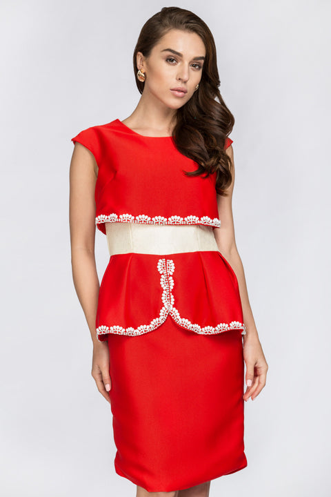 Red Crop Top Illusion White Jewel Trim Peplum Midi Dress 12