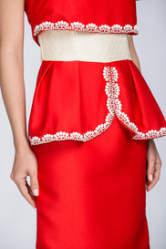 Red Crop Top Illusion White Jewel Trim Peplum Midi Dress
