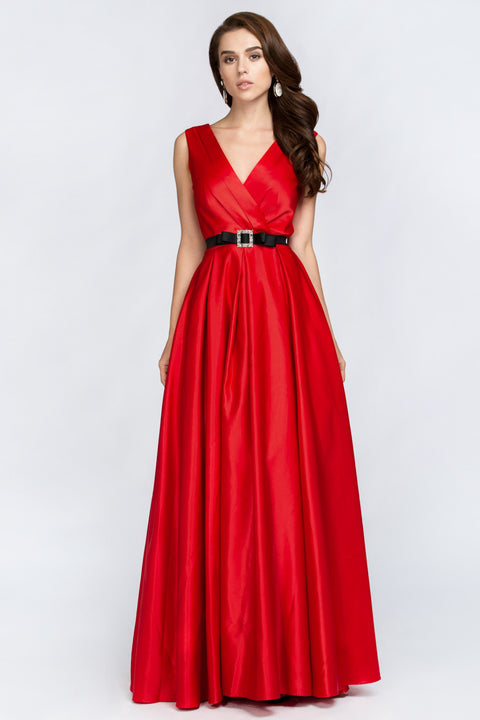 Red Silk Princess Evening Gown
