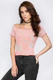 Red Stripe Off Shoulder Stretch