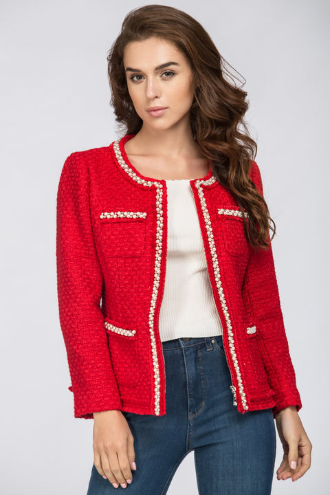 Red Tweed Pearl Trim Blazer 174