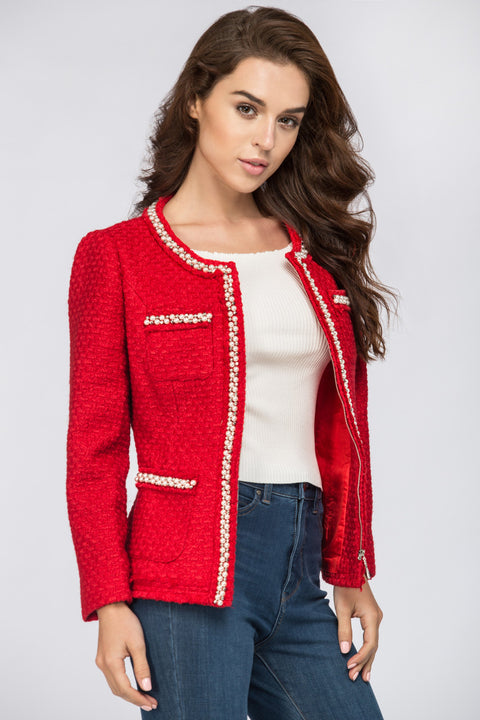 Red Tweed Pearl Trim Blazer 175