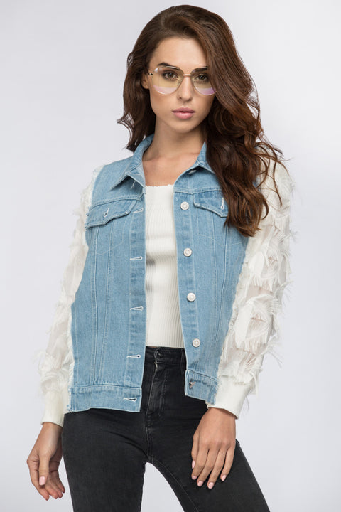 Ruffled White Sleeves Denim Jacket