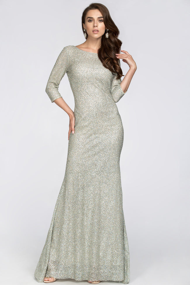 Silver Embellished Sleeved Sheath Gown
