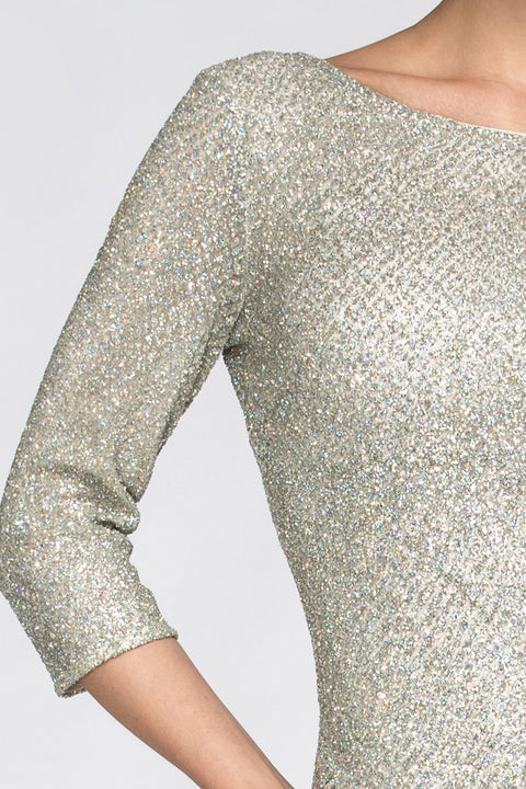 Silver Embellished Sleeved Sheath Gown 129