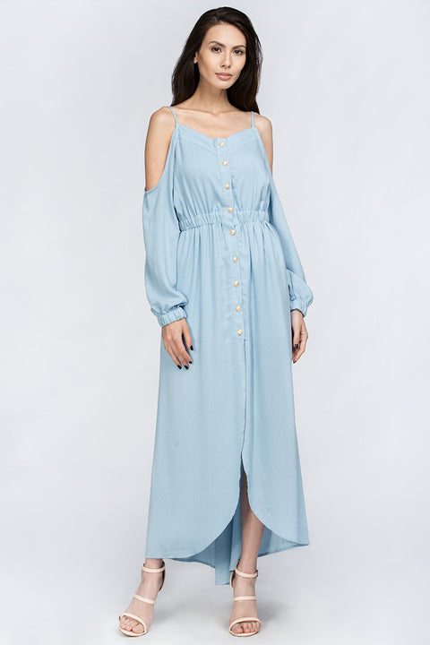 Slate Blue Off the Shoulder Maxi Dress 33