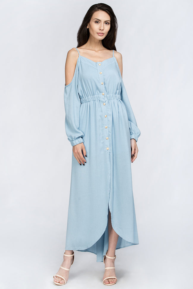 Slate Blue Off the Shoulder Maxi Dress