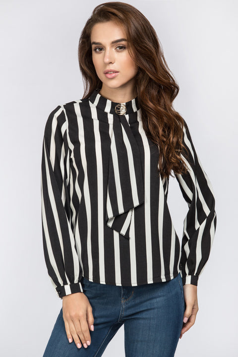 Stripe Gold Button Top