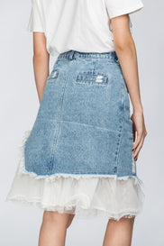 Tatter Denim Skirt with Tulle Layer