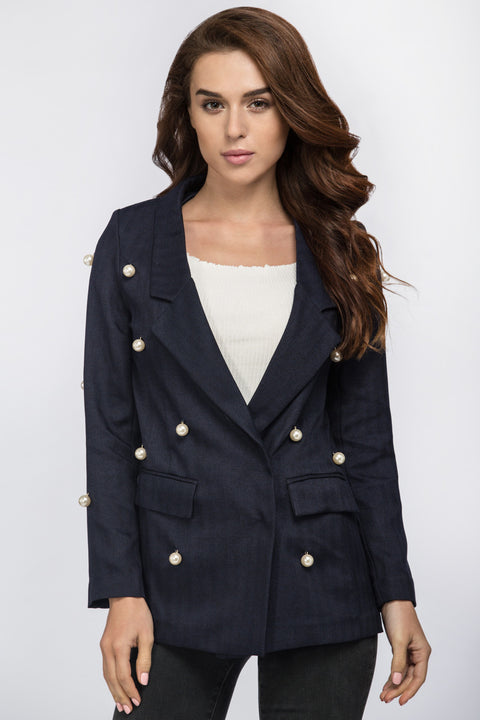 The Real Fouz - Blue Pearl Detail Blazer 196