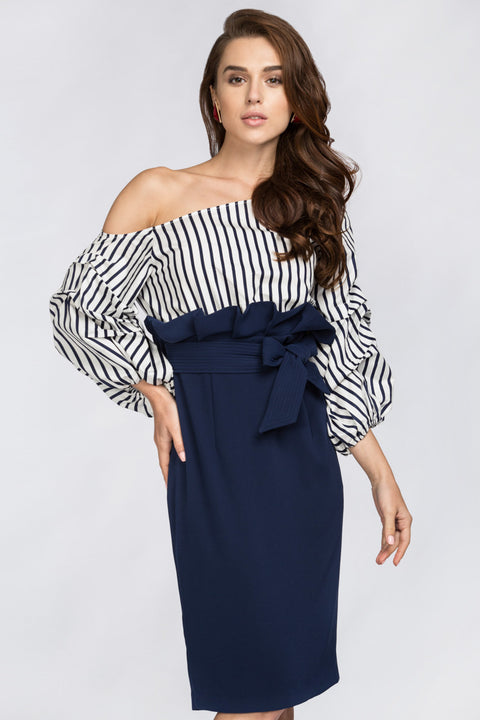 The Real Fouz - Blue Stripe Puff Sleeve Gathered Waist Midi Dress 180