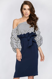 The Real Fouz - Blue Stripe Puff Sleeve Gathered Waist Midi Dress