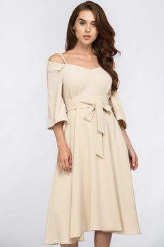 Cream Off Shoulder Chelsea Collar Midi Dress